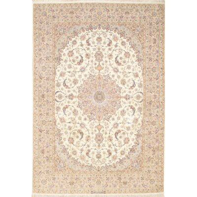 One-of-a-Kind Persian Isfahan Hand-Knotted Wool Ivory Area Rug