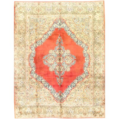 Persian Kerman Hand-Knotted Wool Rust Area Rug