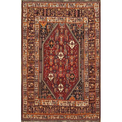 Persian Hand-Knotted Wool Red Area Rug