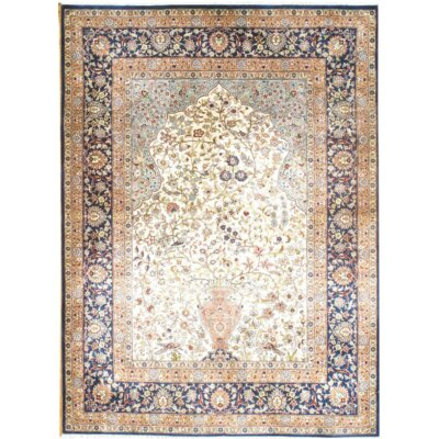 Original Sino Hand-Knotted Silk Ivory Area Rug