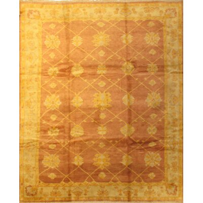 Indo Oushak Hand-Knotted Wool Salmon/Yellow Area Rug