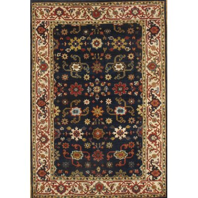 Mahal Hand Knotted Wool Navy Area Rug