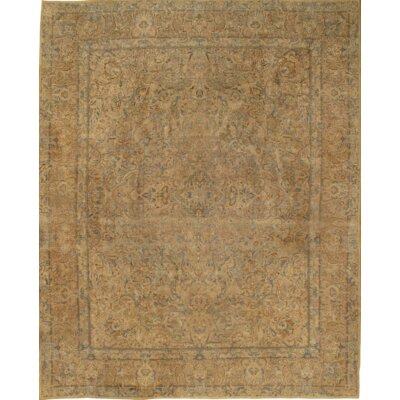 Persian Lavar Kerman Hand-Knotted Wool Ivory Area Rug