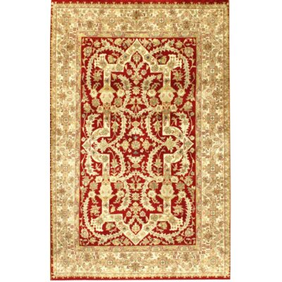 Tabriz Hand-Knotted Wool Ivory/Red Area Rug