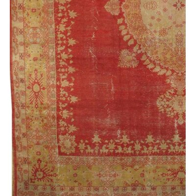 One-of-a-Kind Oushak Hand-Knotted Wool Coral/Ivory Area Rug