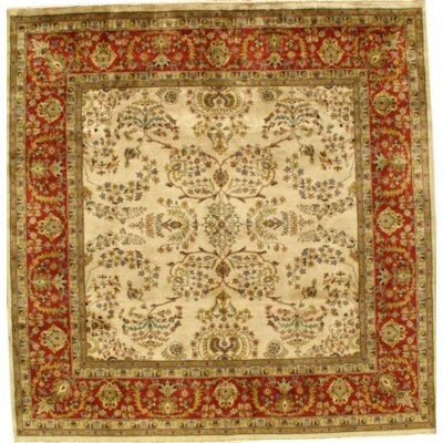 Sarouk Mohajeran Hand-Knotted Wool Ivory/Red Area Rug