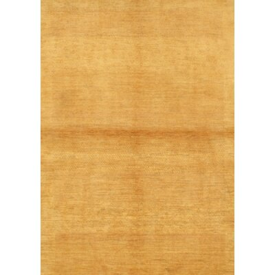 One-of-a-Kind Persian Gabbeh Hand-Knotted Wool Gold Area Rug