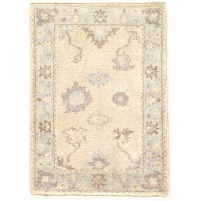 One-of-a-Kind Oushak Hand-Knotted Wool Ivory Area Rug
