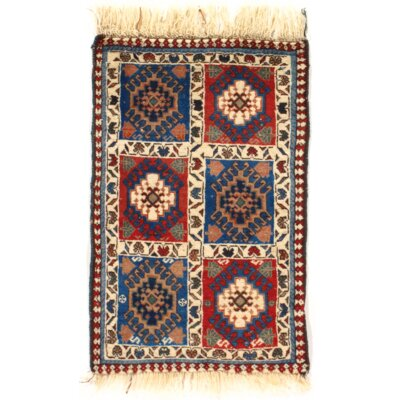 One-of-a-Kind Persian Tribal Yalameh Hand-Knotted Wool Red/Blue Area Rug
