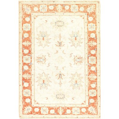 One-of-a-Kind Hand-Knotted Wool Ivory/Orange Area Rug