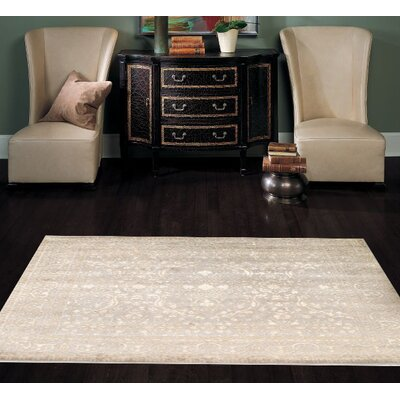 Hand Knotted Wool/Silk Ivory Area Rug