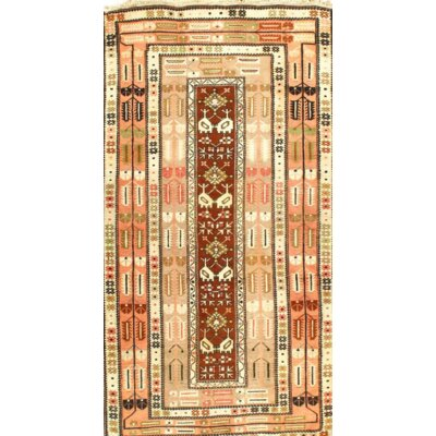 Kazak Hand-Knotted Wool Ivory/Brown Area Rug