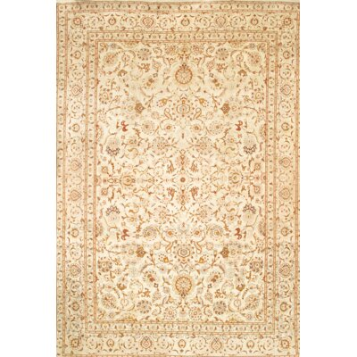 Persian Kashan Hand-Knotted Wool Ivory Area Rug