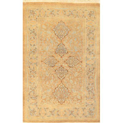 Persian Tabriz Hand Knotted Wool Yellow Area Rug
