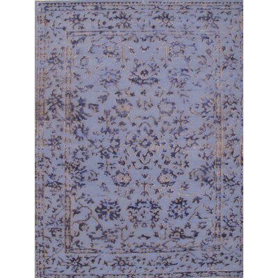 Modern Hand-Knotted Silk Blue/Gray Area Rug