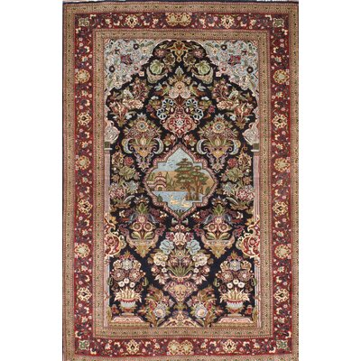 Kashan Hand-Knotted Wool Black/Red Area Rug