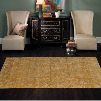 Modern Hand-Knotted Wool Gold Area Rug