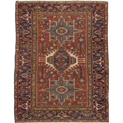 Persian Karajeh Original Hand-Knotted Wool Rust/Navy Area Rug