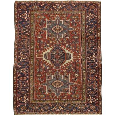 Persian Karajeh Original Hand-Knotted Wool Rust/Navy Area Rug