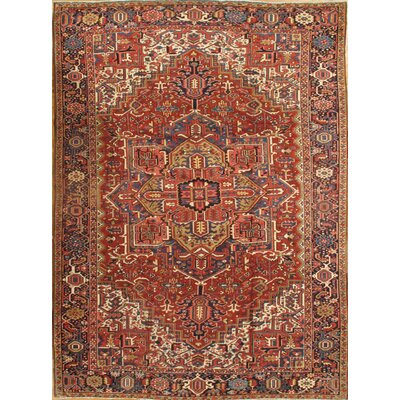 Persian Heriz Hand-Knotted Wool Red Area Rug