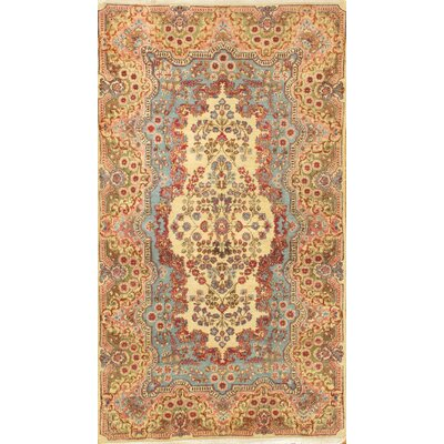 Persian Kerman Hand-Knotted Wool Yellow/Blue Area Rug