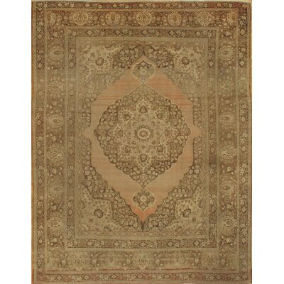 Persian Tabriz Hand-Knotted Wool Brown Area Rug
