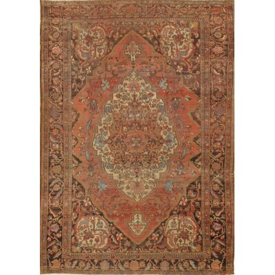 Persian Sarouk Farahan Hand-Knotted Wool Brown/Peach Area Rug