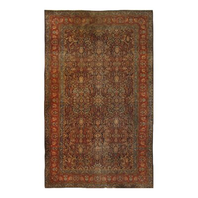 Persian Kashan Dabir Hand-Knotted Wool Red Area Rug
