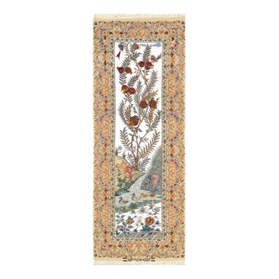 Persian Isfahan Hand-Knotted Wool Beige/Red/Green Area Rug