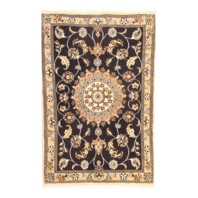 Persian Nain Hand-Knotted Wool Beige/Black Area Rug