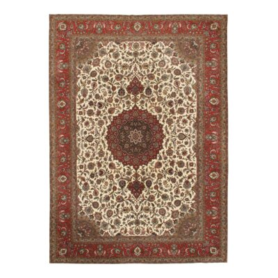 Persian Tabriz Hand-Knotted Wool Ivory/Red Area Rug