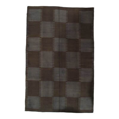Scandinavian Design New Zealand Hand-Woven Wool Brown Area Rug