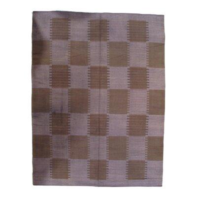 Scandinavian Hand-Knotted Wool Beige Area Rug