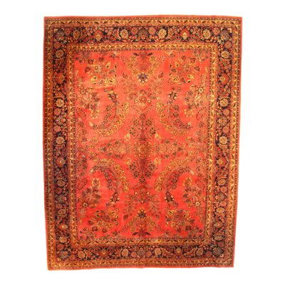 Sarouk Hand-Knotted Wool Rust Area Rug