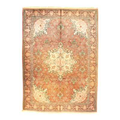 Tabriz Hand-Knotted Silk Rust Area Rug