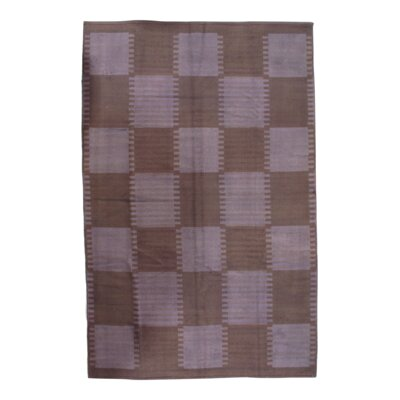 Scandinavian Hand-Knotted Wool Brown/Purple Area Rug