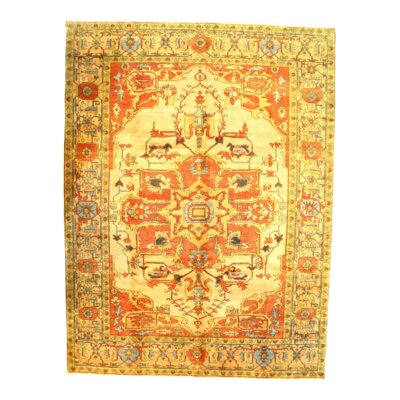 Indo Serapi Hand-Knotted Wool Ivory Area Rug