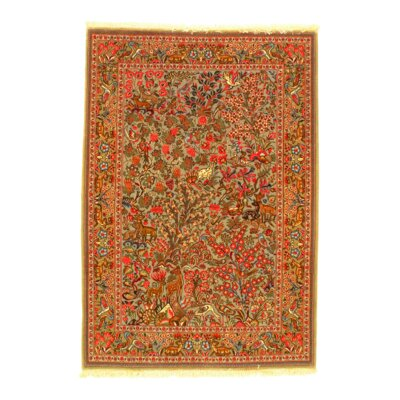 Qom Hand-Knotted Wool Brown/Red Area Rug