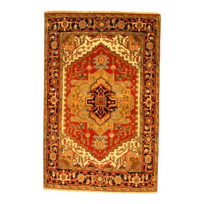 Indo Serapi Hand-Knotted Wool Rust Area Rug