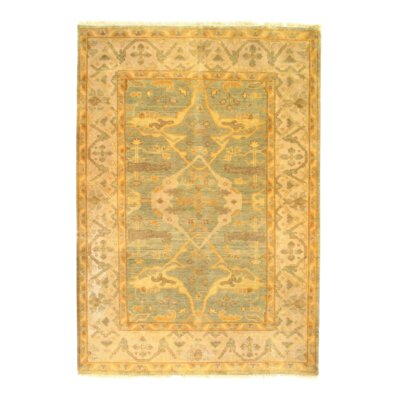 Oushak Hand-Knotted Wool Light Green Area Rug