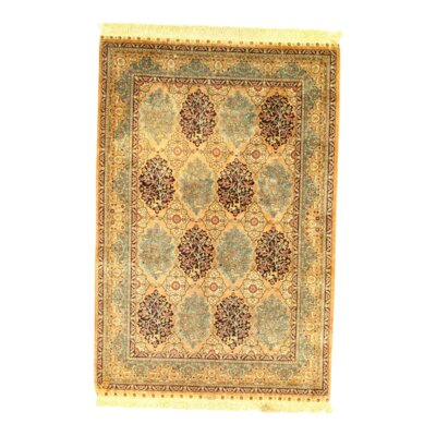 Sino Hereke Hand-Knotted Wool Brown Area Rug