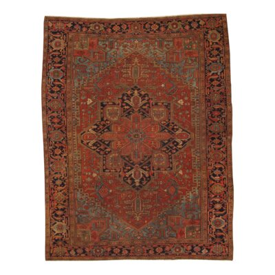 Antique Persian Heriz Hand Knotted Wool Rust Area Rug
