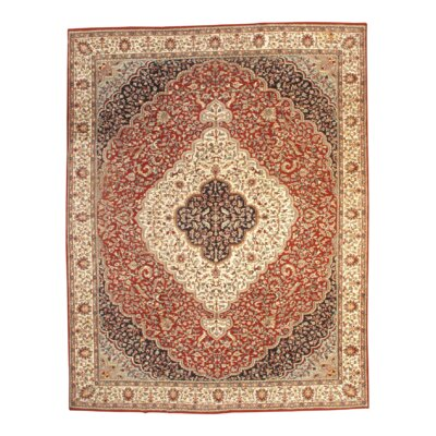 Fine Tabriz Hand Knotted Wool Red/Ivory Area Rug