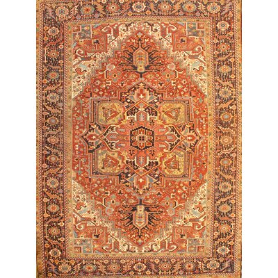 Antique Persian Heriz Hand-Knotted Wool Rust Area Rug