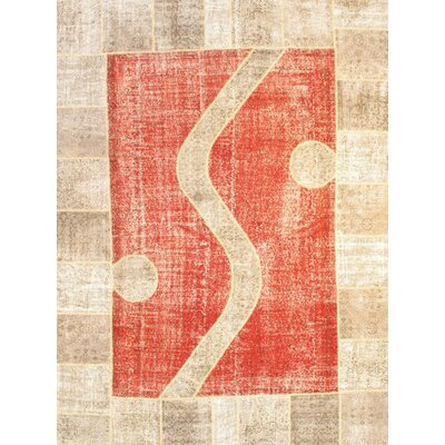 Turkish Patchwork Hand-Knotted Wool Rust/Beige Area Rug