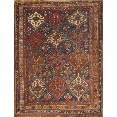 Antique Persian Ghashghaei Hand-Knotted Wool Rust Area Rug