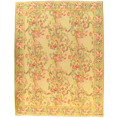 French Aubusson Hand-Knotted Wool Light Green/Ivory Area Rug