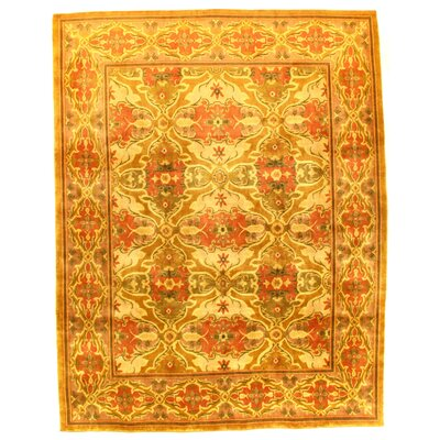 Indo Amristar Hand-Knotted Wool Gold Area Rug