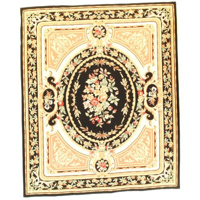 French Aubusson Hand-Woven Wool Ivory Area Rug