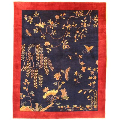Indo Chinese Peking Hand-Knotted Wool Navy/Red Area Rug